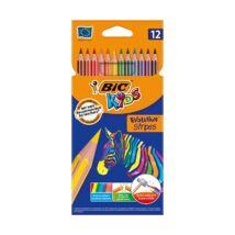 Színes ceruza BIC Kids Evolution hatszögletű hajlékony csíkos környezetbarát 12 db/készlet
