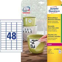 Etikett AVERY L4778REV-20 45,7x21,2mm időjárásálló poliészter laser 960 címke/doboz20 ív/doboz
