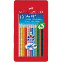 Színes ceruza FABER-CASTELL Grip háromszögletű fémdobozos 12 db/készlet