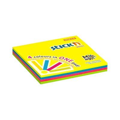 Öntapadó jegyzettömb STICK`N 76x76mm neon magic pad 100 lap