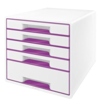 Irattartó LEITZ Wow Cube 5 fiókos fehér/lila