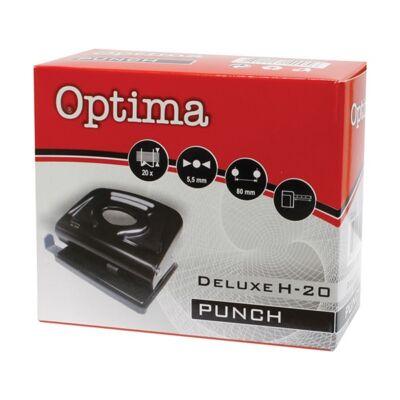 Lyukasztó OPTIMA H-20 2 lyukú fém 20 lap fekete