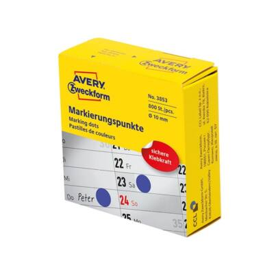 Etikett AVERY 3853 öntapadó jelölőpont adagoló dobozban kék 10mm 800 jelölőpont/doboz