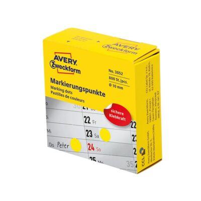 Etikett AVERY 3852 öntapadó jelölőpont adagoló dobozban sárga 10mm 800 jelölőpont/doboz