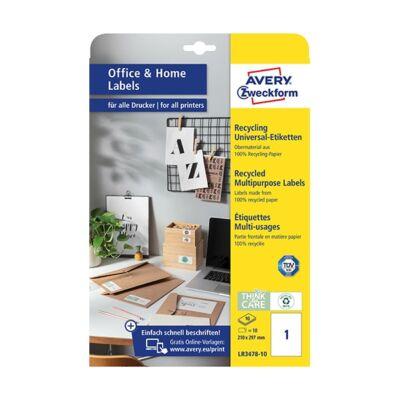 Etikett AVERY LR3478-10 210x297mm univerzális  környezetbarát  10 címke/doboz 10 ív/doboz