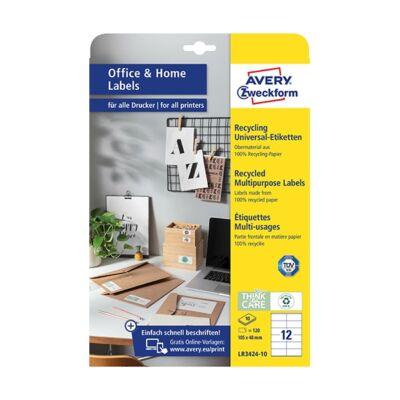 Etikett AVERY LR3424-10 105x48mm univerzális  környezetbarát  120 címke/doboz 10 ív/doboz