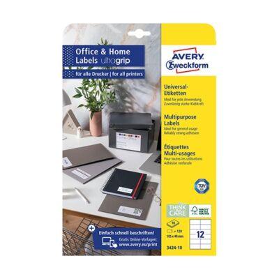Etikett AVERY 3424-10 105x48mm univerzális sárga 120 címke/doboz 10 ív/doboz