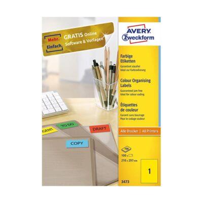 Etikett AVERY 3473 210x297 mm sárga  univerzális 100 címke/doboz 100 ív/doboz