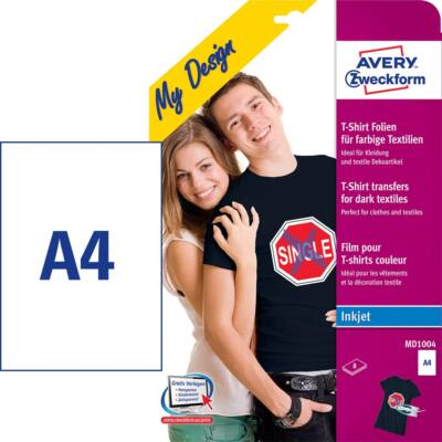 Textilre vasalható fólia AVERY MD1004 sötét pólóra vasalható tintasugaras nyomtatóhoz 8 ív/csomag