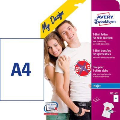 Textilre vasalható fólia AVERY MD1002 világos pólóra vasalható tintasugaras nyomtatóhoz 10 ív/csomag