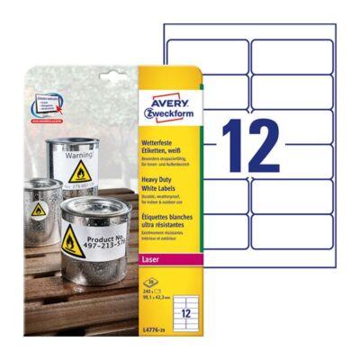 Etikett AVERY L4776-20 99,1x42,3mm időjárásálló poliészter fehér 240 címke/doboz 20 ív/doboz