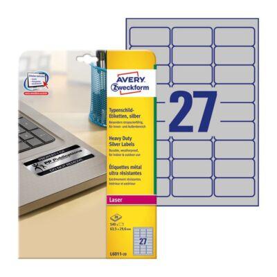 Etikett AVERY L6011-20 63,5x29,6mm lézer ezüst 540 címke/doboz 20 ív/doboz