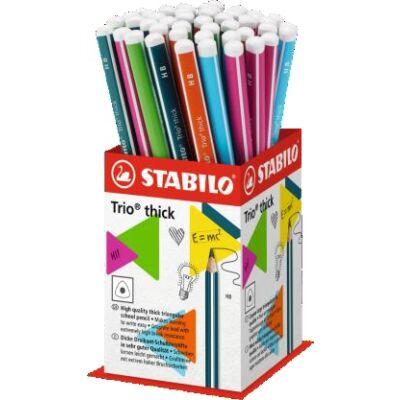 Grafitceruza display STABILO Trio HB háromszögletű vastag 48 db-os