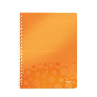 Spirálfüzet LEITZ Wow A/4 80 lapos kockás narancs