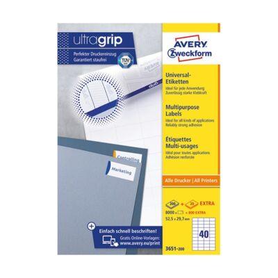Etikett AVERY 3651-200 52,5x29,7 mm fehér univerzális 8800 címke/doboz 200+20 ív/doboz