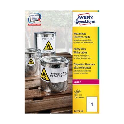 Etikett AVERY L4775-100 210x297 mm fehér időjárásálló 100 címke/doboz 100 ív/doboz