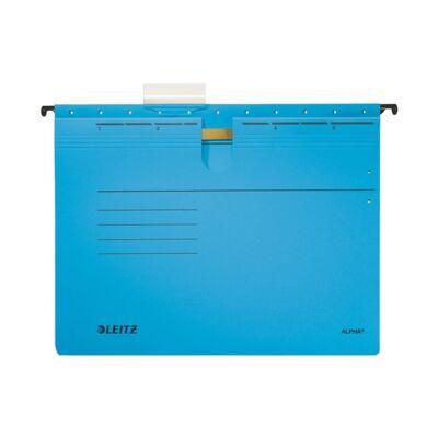 Függőmappa gyorsfűző szerkezettel LEITZ Alpha A/4 karton kék 25 db/doboz