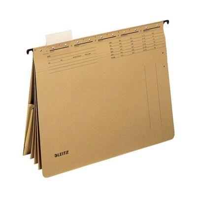 Függőmappa gyorsfűző szerkezettel LEITZ Alpha A/4 kombi karton natúr 25 db/doboz